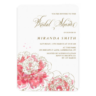 Pink Peonies | Floral Bridal Shower Invitation