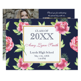 Pink Peonies Graduation Photo Card