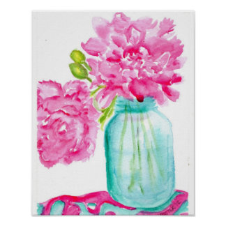 Pink Peonies in Canning Jar Poster