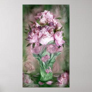 Pink Peonies In Peony Vase Art Poster/Print