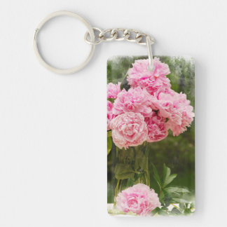 Pink Peonies Key Ring