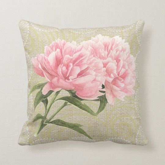 Pink peonies & lace floral vintage pillow