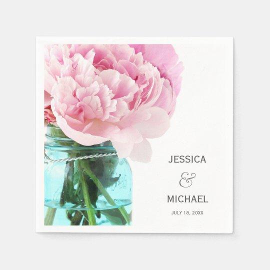 Pink Peonies Mason Jar Personalised Wedding Disposable Napkin