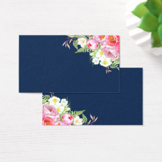Pink Peonies on Navy Blue Placecards Business Card