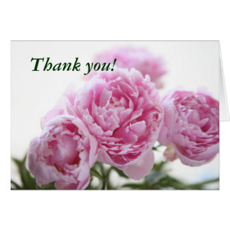 pink peonies thank you note card