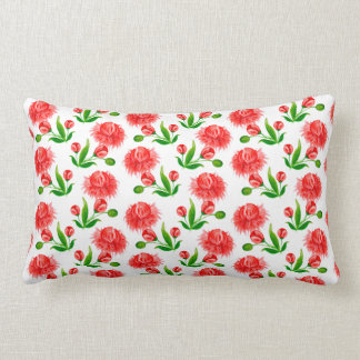 Pink peonies vintage flower design lumbar cushion