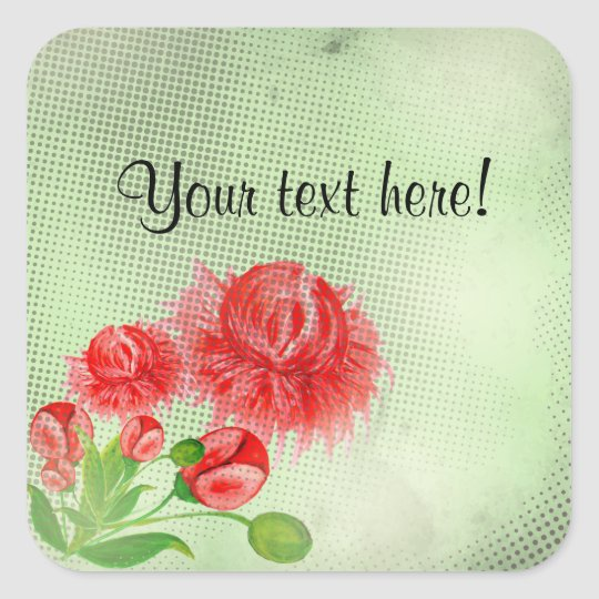 Pink peonies vintage flower design square sticker