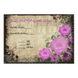 Pink Peonies Vintage Wedding Invitation RSVP Card