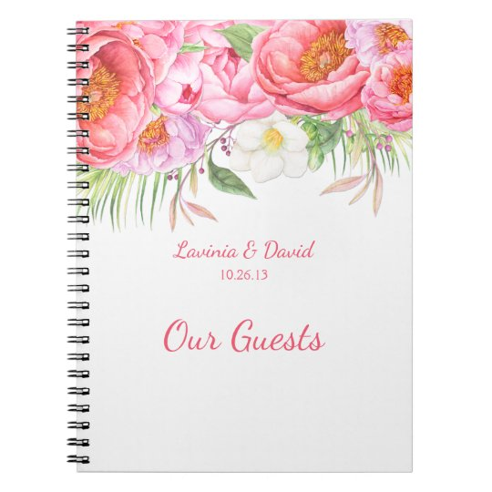 Pink Peonies Watercolor Florals Guest Book Notebooks