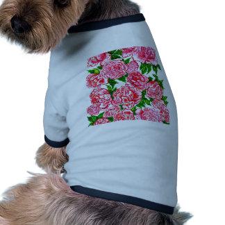 Pink Peonies Watercolor Ringer Dog Shirt
