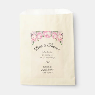 Pink Peonies Watercolor | Wedding Favour Bags