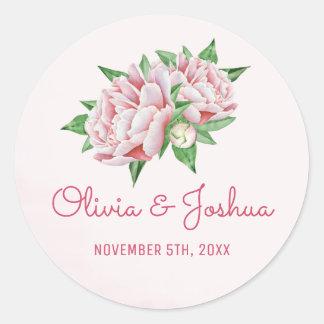 Pink Peonies Watercolor Wedding Stickers