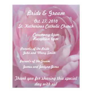 Pink Peonies Wedding Program Flyer