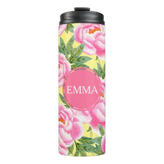 Pink Peonies - Yellow Personalized Thermal Tumbler