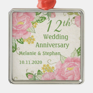 Pink peony 12th Wedding Anniversary Ornament