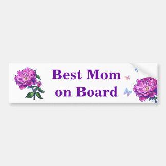 Pink Peony Art Best Mom on Board Bumper Sticker