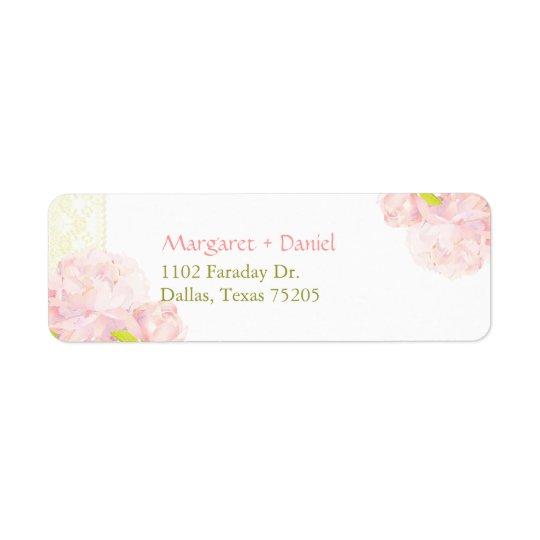 Pink Peony Blooms Botanical Wedding Return Address Label