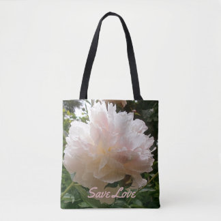 Pink Peony Blossom.text. Tote Bag