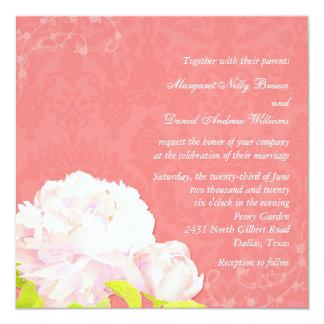 Pink Peony + Coral Reef Damask Wedding Card