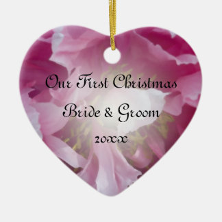 Pink Peony First Christmas Together Christmas Ornament