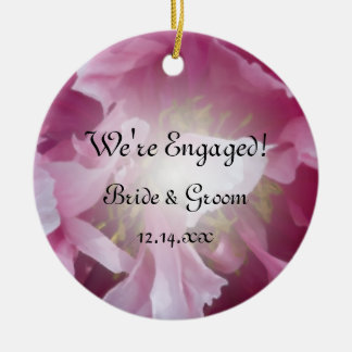 Pink Peony Floral Engagement Photo Round Ceramic Decoration