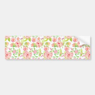 Pink peony floral pattern bumper sticker