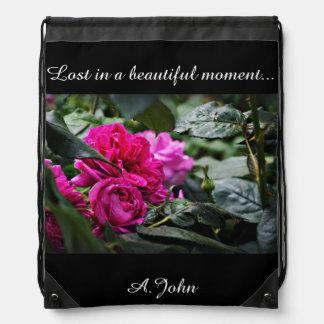 Pink Peony Flower Drawstring Bag