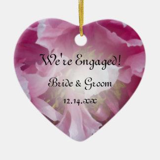 Pink Peony Flower Engagement Ceramic Heart Decoration