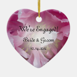 Pink Peony Flower Engagement Christmas Ornament