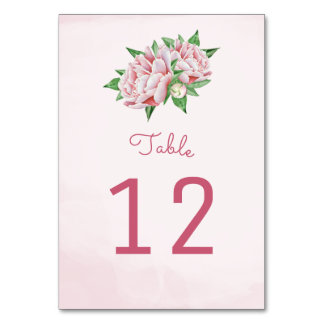 Pink Peony Flower Table Number Cards