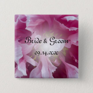 Pink Peony Flower Wedding 15 Cm Square Badge