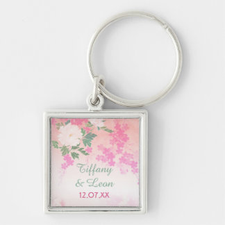 Pink Peony Garden Wedding Silver-Colored Square Key Ring