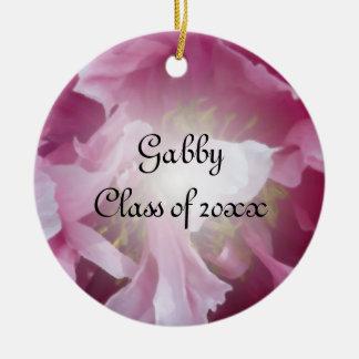Pink Peony Graduation Photo Round Ceramic Decoration