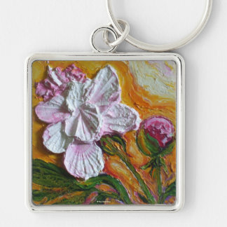 Pink Peony Silver-Colored Square Key Ring