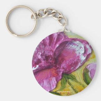 Pink Peony Basic Round Button Key Ring