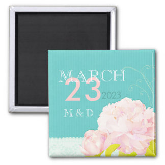 Pink Peony Lagoon Floral Wedding Save the Date Square Magnet