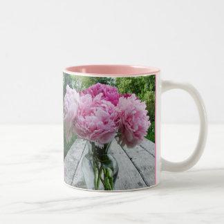 Pink Peony Peonies Vase Arrangement Mug