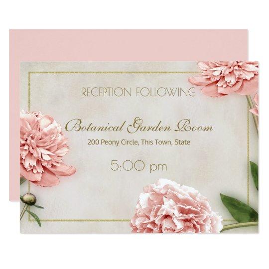 Pink Peony Reception Information Card