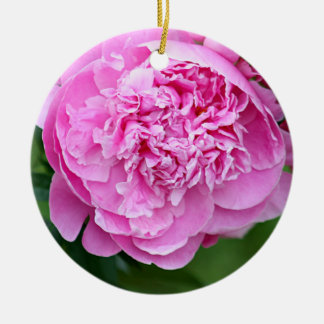 Pink peony round ceramic decoration