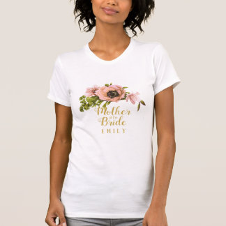 Pink Peony Swag Mother of the Bride Name ID456 T-Shirt