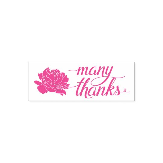 Pink Peony Thank You Self-Inking Stamp