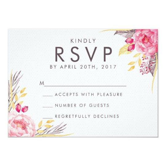 Pink Peony Watercolor Floral Wedding RSVP Card