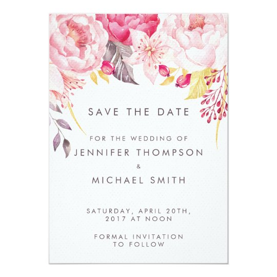 Pink Peony Watercolor Floral Wedding Save the Date