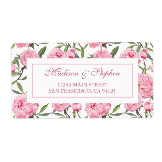 Pink Peony Watercolor Flowers -  Wedding