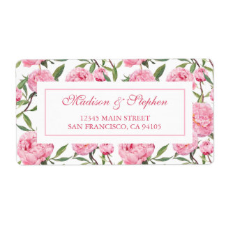 Pink Peony Watercolor Flowers -  Wedding Shipping Label