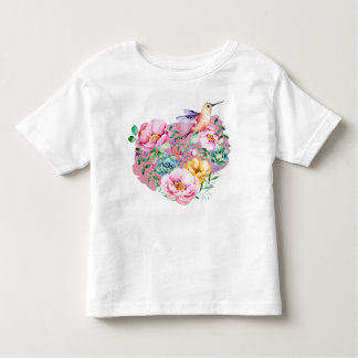 Pink Peony Watercolor Heart with Hummingbird Toddler T-Shirt
