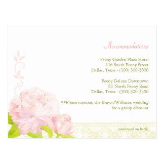Pink Peony Wedding Accommodation Enclosure Postcard