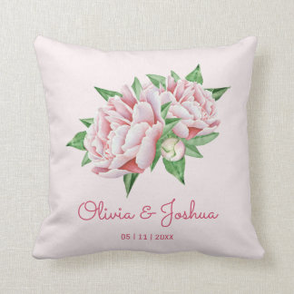 Pink Peony Wedding Cushion