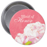 "Pink Peony Wedding Maid of Honour Buttons (4"")"