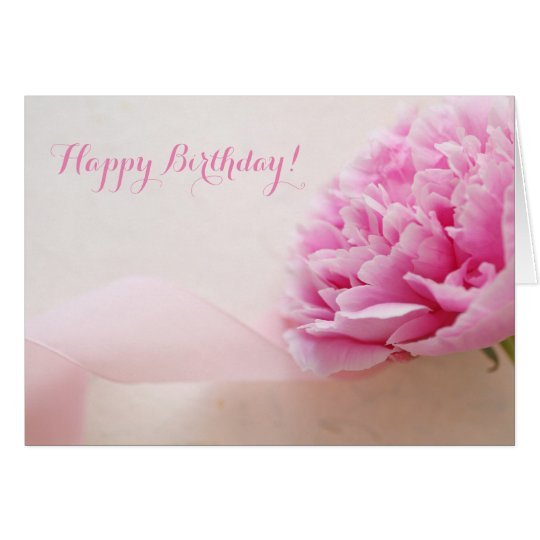 Pink peony with ribbon birthday card